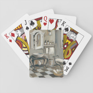 Black and White Tiled French Bathroom Playing Cards