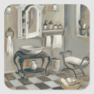 Black and White Tiled French Bathroom Square Sticker