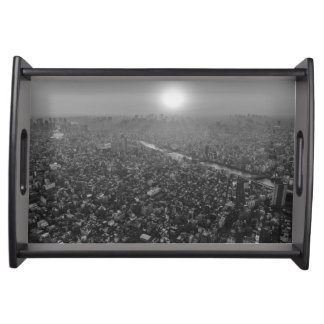 Black and White Tokyo at Sunrise Serving Tray