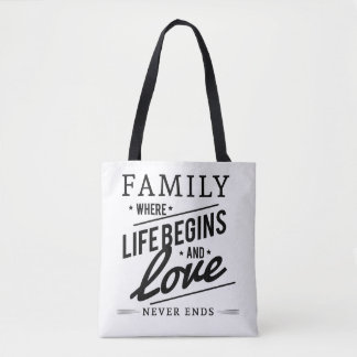 Black and white tote shopping bag