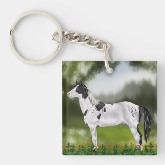 Black and White Tovero Paint Horse Keychain