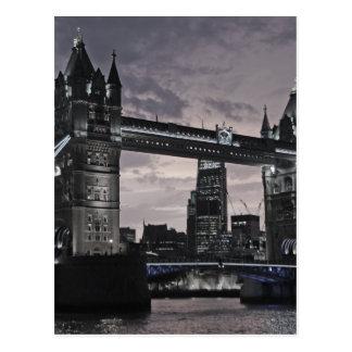 Black and White Tower Bridge London River Thames Postcard