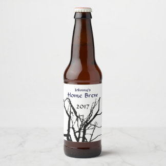 Black and White Tree Branch Abstract Beer Label