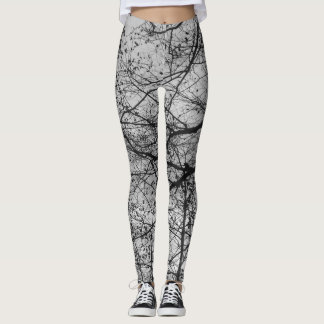 Black and white tree branch print on leggings