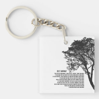 Black and White Tree Do It Anyway Double-Sided Square Acrylic Keychain