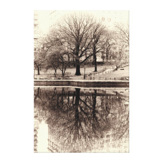 Black and White Tree Landscape Photo Canvas Print
