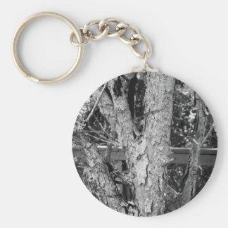 Black and White Tree Nature Photo Keychain
