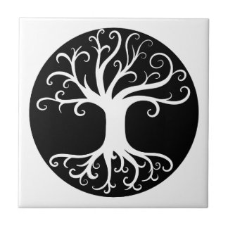 Black and White Tree of Life Tile
