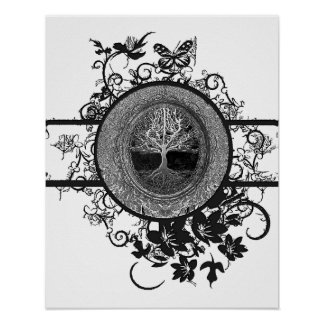 Black and White Tree of Life with Flowers Poster