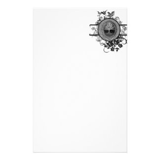 Black and White Tree of Life with Flowers Stationery