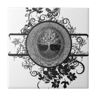 Black and White Tree of Life with Flowers Tile