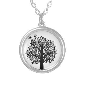 Black and white tree with swallow birds silver plated necklace