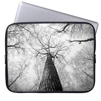 Black and White Treeline Skyline Art Print Laptop Sleeve
