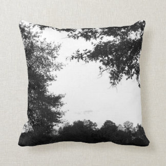 Black and White Trees Abstract Throw Pillow