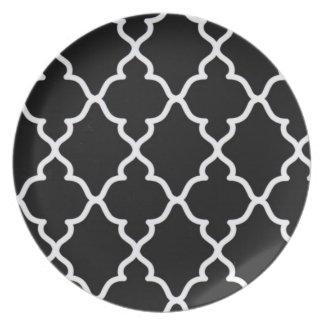 Black and White Trellis..plate Dinner Plate