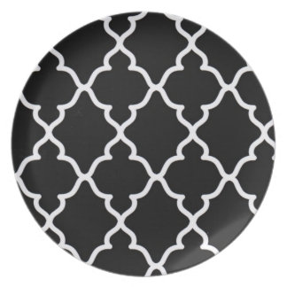 Black and White Trellis..plate Plate