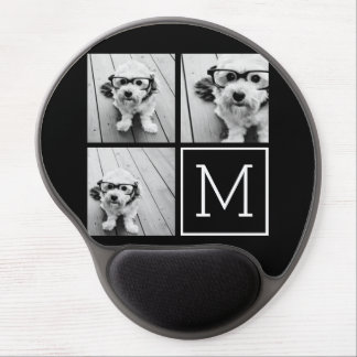 Black and White Trendy Photo Collage with Monogram Gel Mouse Pad