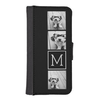 Black and White Trendy Photo Collage with Monogram Phone Wallet