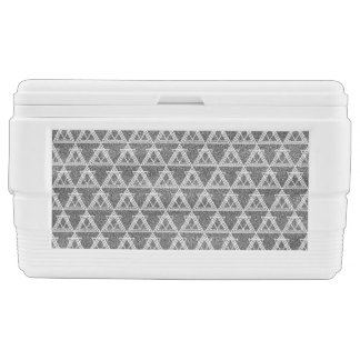 Black and White Triangle Geometric Pattern Chest Cooler