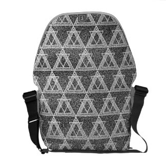 Black and White Triangle Geometric Pattern Courier Bags