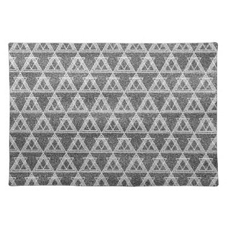 Black and White Triangle Geometric Pattern Placemat