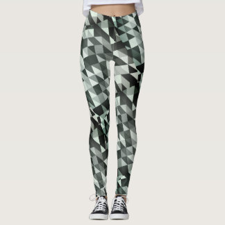 Black and white triangles geometric pattern - leggings