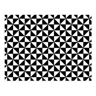 Black and white triangles pattern postcard