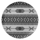 Black And White Tribal Aztec Pattern Southwest Plate