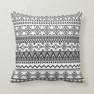 Black and White Tribal Aztec Pattern Throw Pillow