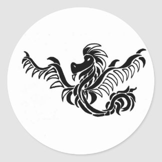 black and white tribal dragon classic round sticker
