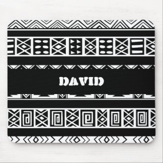 Black And White Tribal Geometric Pattern Mouse Pad