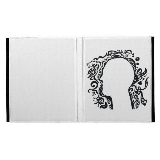 Black and white Tribal head iPad Folio Cover