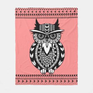Black and White Tribal Owl Custom Fleece Blanket