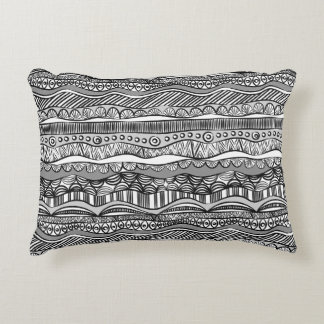 Black and white tribal pattern decorative pillow