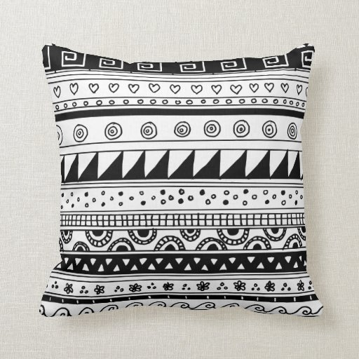 Black and white Tribal pattern Throw Pillow