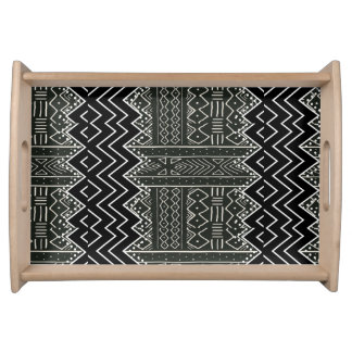 Black and White Tribal Pattern Serving Tray