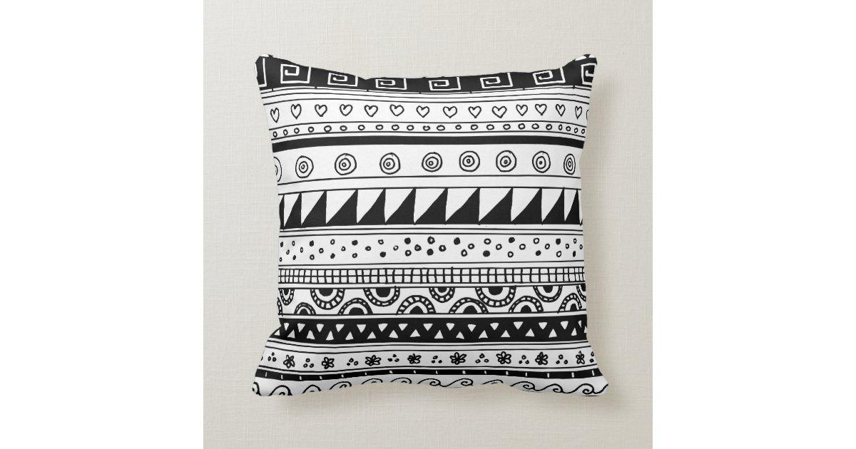 Black Tribal Throw Pillow : Black and white Tribal pattern Throw Pillow Zazzle