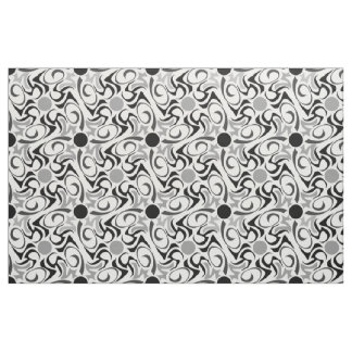 Black and White Tribal Rice Grain Pattern Fabric