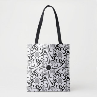 Black and White Tribal Rice Grain Pattern Tote Bag