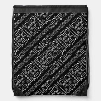 Black and White Tribal Stripes Drawstring Bag