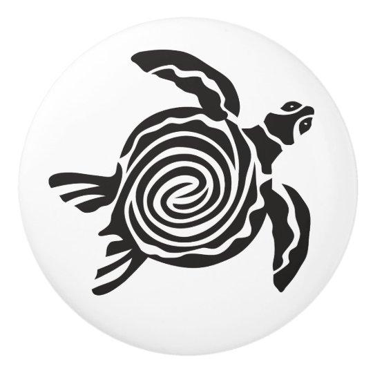Black and White Tribal Turtle Art Ceramic Knob