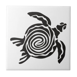 Black and White Tribal Turtle Art Tile