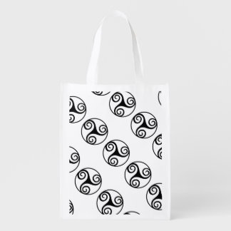 Black and White Triskelion Grocery Bags