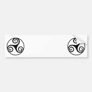 Black and White Triskelion or Triskele Bumper Sticker