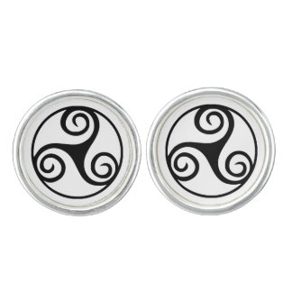 Black and White Triskelion or Triskele Cufflinks