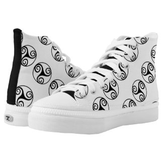 Black and White Triskelion or Triskele High Tops