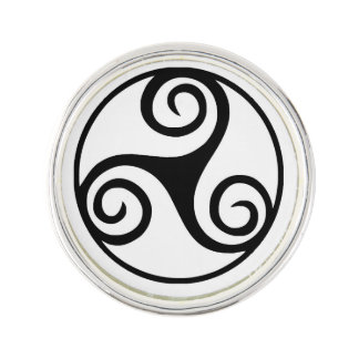 Black and White Triskelion or Triskele Lapel Pin
