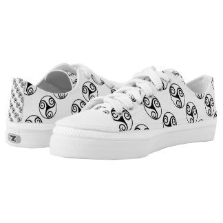 Black and White Triskelion or Triskele Low-Top Sneakers