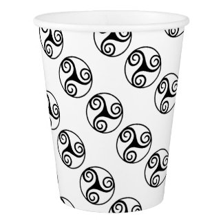 Black and White Triskelion or Triskele Paper Cup