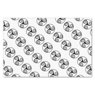 Black and White Triskelion or Triskele Tissue Paper
